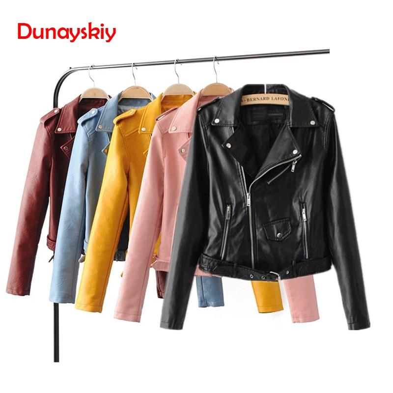 Dunayskiy Women Autumn Winter Clothes Leather Jackets Soft Pu Faux Leather Coat Slim Short Design Streetwear Plus Size Outerwear