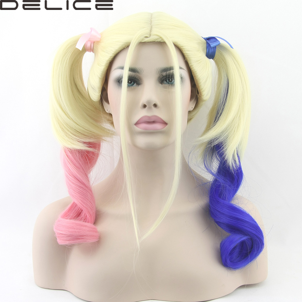 Colored Cosplay Wig Movie Batman Suicide Squad Harleen Quinzel Harley Quinn Curly Synthetic Ponytail Heat Resistant Wigs