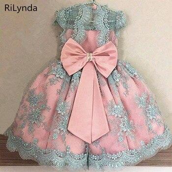 340087e09 Novos Vestidos Da Menina de Flor Nuvem de Blush Rosa vestidos de Primeira  Comunhão Vestidos Para Meninas vestido de Baile Frisado Vestidos Concurso  Vestido ...