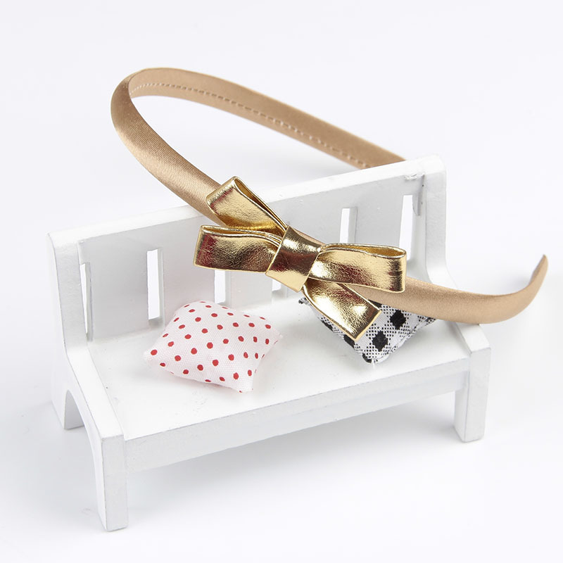 цена на Fashion Bow Knot Hair Hoop Headband Synthetic Leather Rabbit Ears Hair Accessories For Girl Kids Gold Silver Hairbands