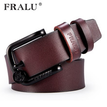FRALU New 100% Cowhide Genuine Leather Belts for Men Brand Strap Male Pin Buckle Vintage Cowboy Jeans Cintos Designer Waist Belt