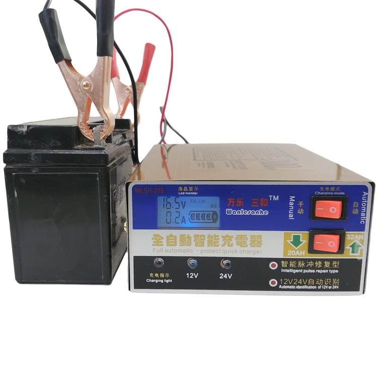 Gold 12V/24V 100AH Electric Car Scooter Battery Charger Intelligent Dry&wet Lead Acid Battery Charger Pulse Repair Type