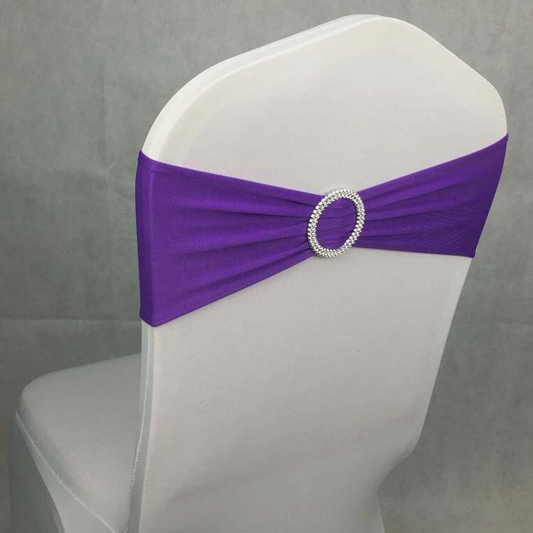 100pcs Dark Purple Elastic Lycra Chair Bows Ties Stretch