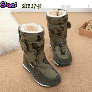 Image 5 - Boys shoes boots camouflage winter style full plus size 27 to 41 snow boot antiskid sole children warm thick fur free shipping