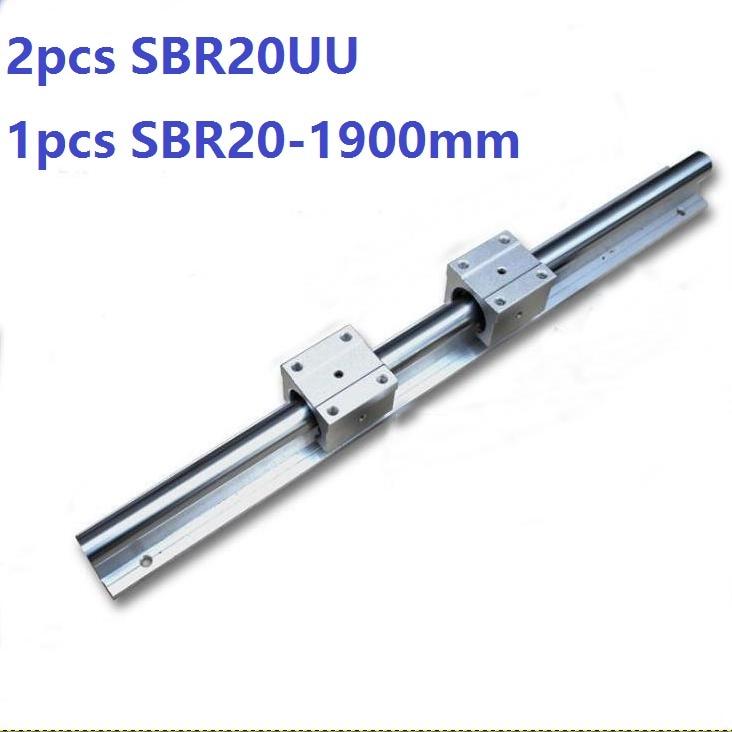 1pcs SBR20 - 1900mm linear rail support guide + 2pcs SBR20UU linear bearing blocks open for cnc router parts