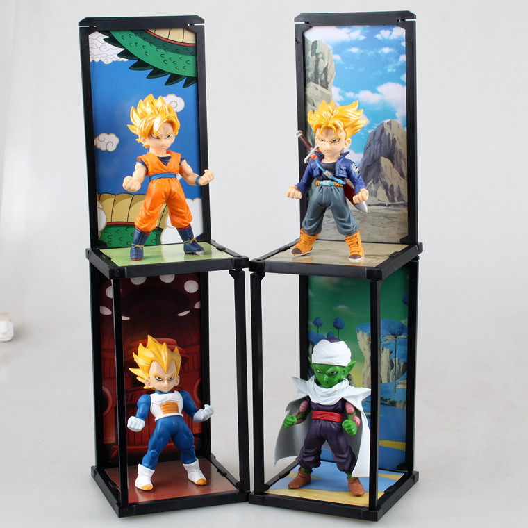 Dragon BallZ Q version Figures Goku Son Vegeta Piccolo Trunks PVC Action Figure Collection Model Toy 10CM 4pcs/set Free Shipping free shipping cute 4 nendoroid luck star izumi konata pvc action figure set model collection toy 27 mnfg032