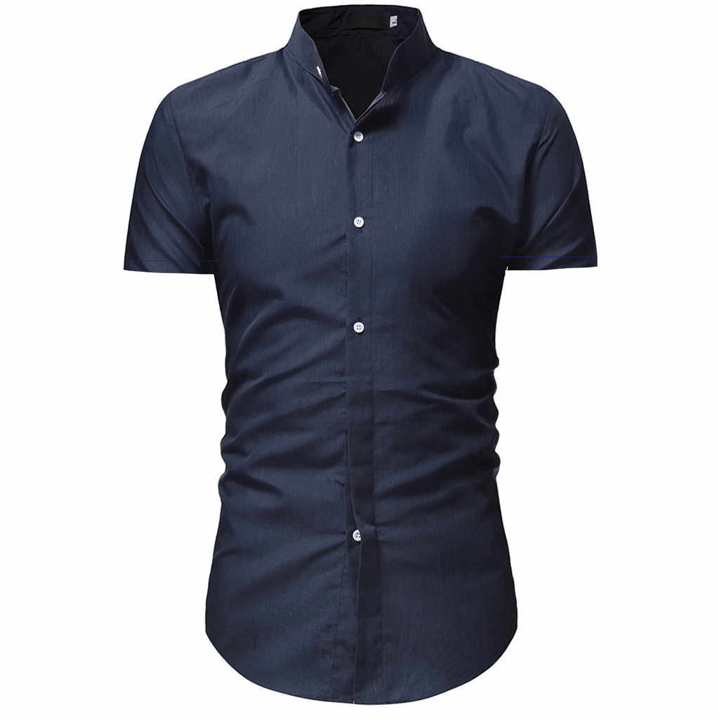2019 新着メンズシャツ男性のカジュアル半袖シャツトップブラウスカミーサ masculina #3