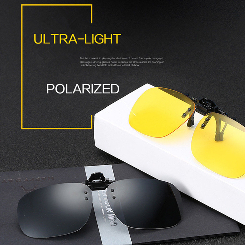 2PCS Night Vision Polarized Sunglasses Clip Drive Sunglasses Goggles Resin Lenses Night Driving Glasses Car Accessories