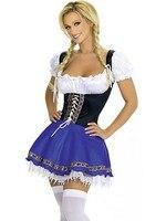 Hot koop vrouw blauw sexy maid kostuum cosplay house maid uniform M4007