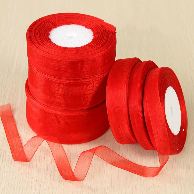Geinne 12 мм-50 мм шириной 50 ярдов/roll красная лента из органзы оптовая продажа подарочной упаковки рождественские ленты