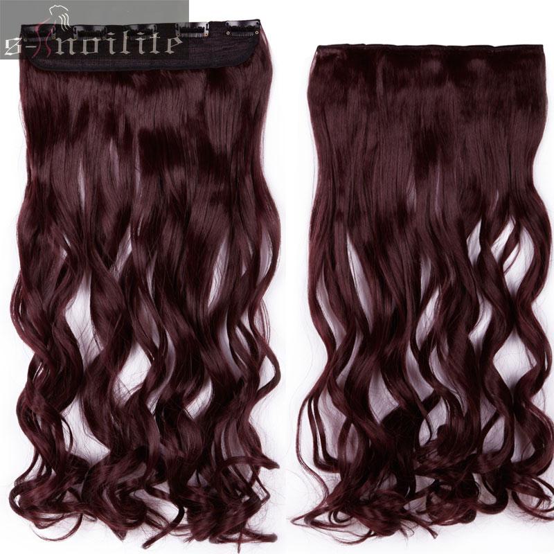 S-noilite, 18-28 дюймов, длинные волосы на заколках для наращивания, 1 шт., синтетические, настоящие натуральные волосы, 3/4, на всю голову, черный, коричневый - Цвет: # 99J