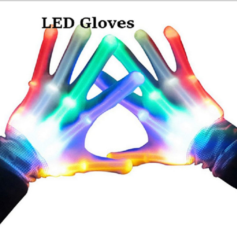 Dance Stage LED Light Gloves Flashing Finger Glow Mittens Xmas Dance Rave Party Fun Wide Light-guiding LED Lamp Gloveer Gloves