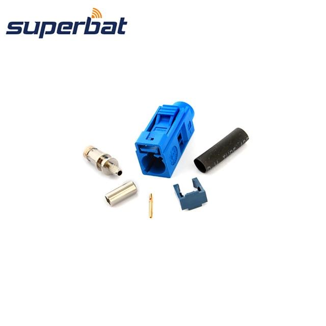 "Superbat RF Coax Connector Fakra ""C "" Female Jack RF Connector 5005 Blue crimp for cable RG316 for GPS telematics& navigation"