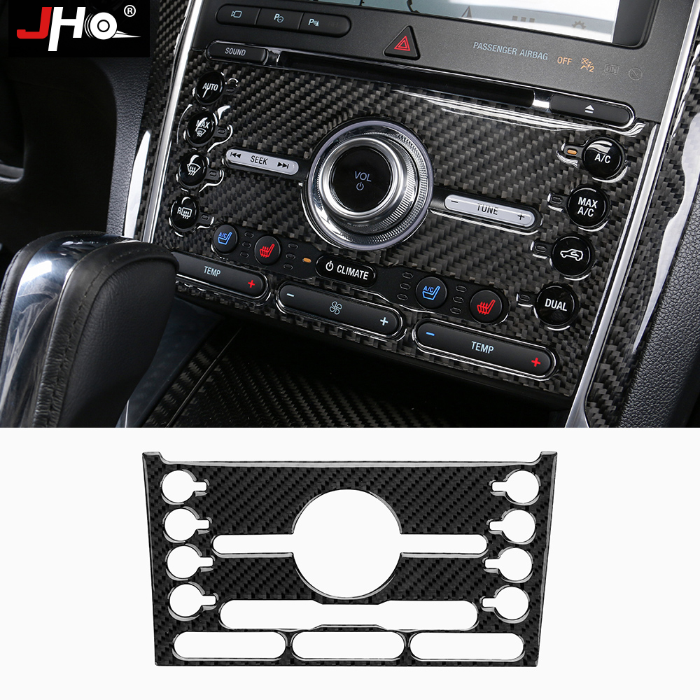 JHO Real Carbon Fiber Center Console Button Panel Cover Trim for Ford Explorer 2016 2017 2018
