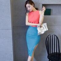 Customize Hot Summer Autumn Plus Size Green Pink Orange Skirt High Waist Bodycon Side Slit Black womens long pencil OL skirts