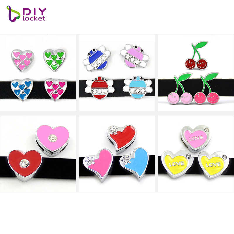 8MM Mix Style Heart Slide Charms 10 pieces/lot Fit DIY Wristband & Bracelet LSSC28-157