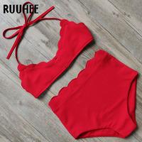 RUUHEE Solid Bikini Swimwear Women Swimsuit High Waist Bikini Set Bathing Suit 2018 Female Beachwear   Swimming   Suit For Women