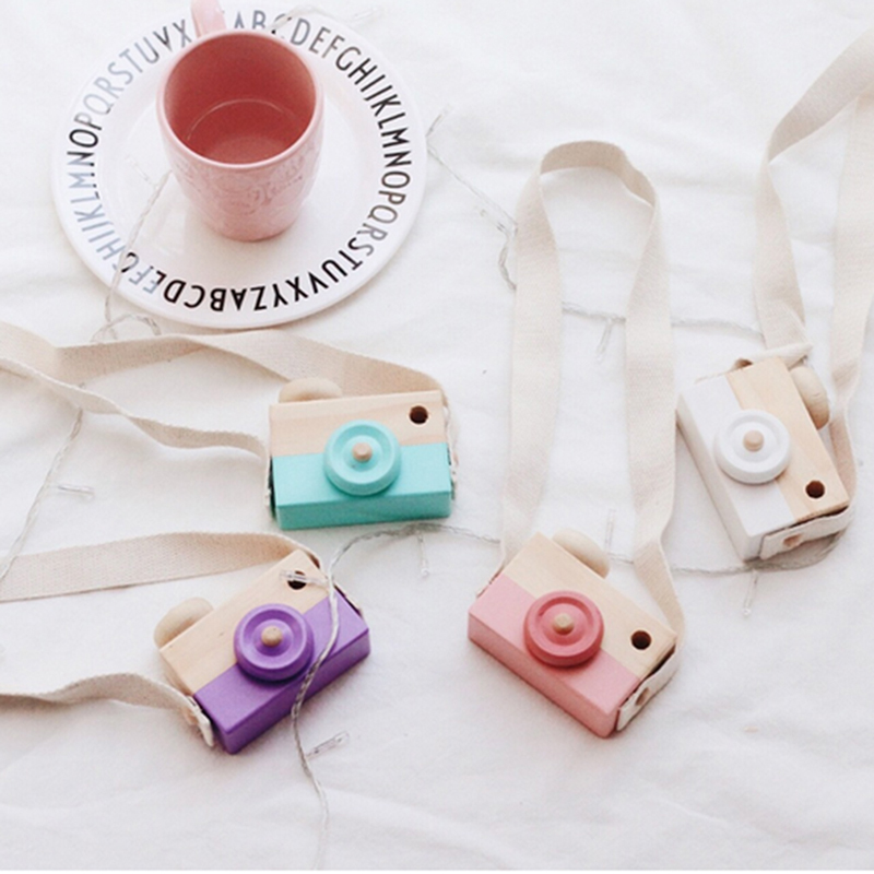 Cute Camera Wooden Toy Baby Kids Creative Neck Hanging Camera Photography Prop Decoration Children Playing House Decor Toy Gift