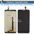 1 шт. Черный Полный ЖК-дисплей + сенсорный экран digitizer тяга Для Alcatel One Touch Pop 3 5.5 OT5025 5025D 5025 Бесплатная Доставка