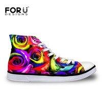 New Women Shoes High Top Canvas Shoes 3D Flowers Pattern Female Casual Shoe Wear Resistant Flat