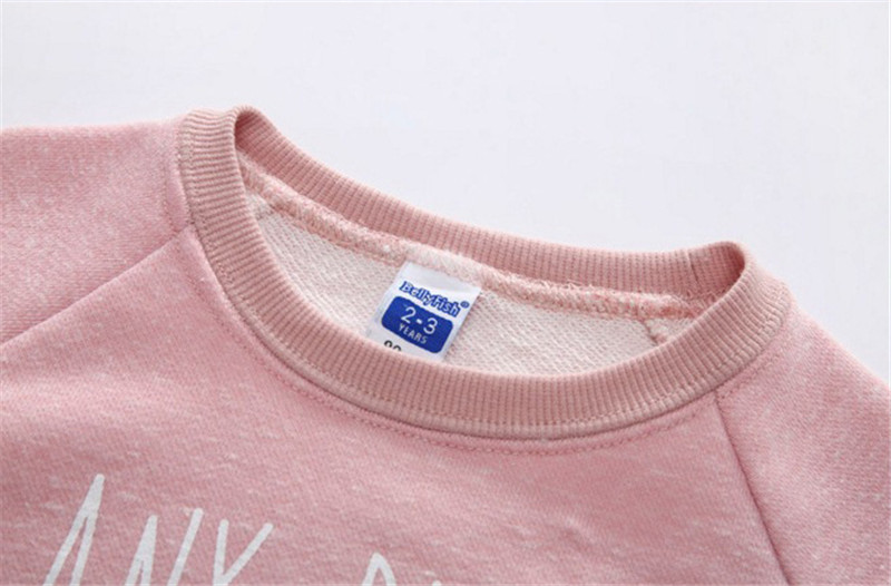 Jiuhehall 24M - 7T Children O-Neck Hoodies Letter Print Pullover With A Small Rabbit Doll For Girls Long Sleeve Kids Tops CMB974 (1)