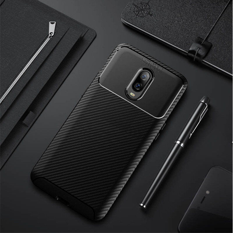 Carbon Fiber Case For <font><b>Oneplus</b></font> 6T Case 6.4 inch High Quality Diamond Grid Design Cover For <font><b>Oneplus</b></font> 6T <font><b>A6013</b></font> Back Cover Coque image