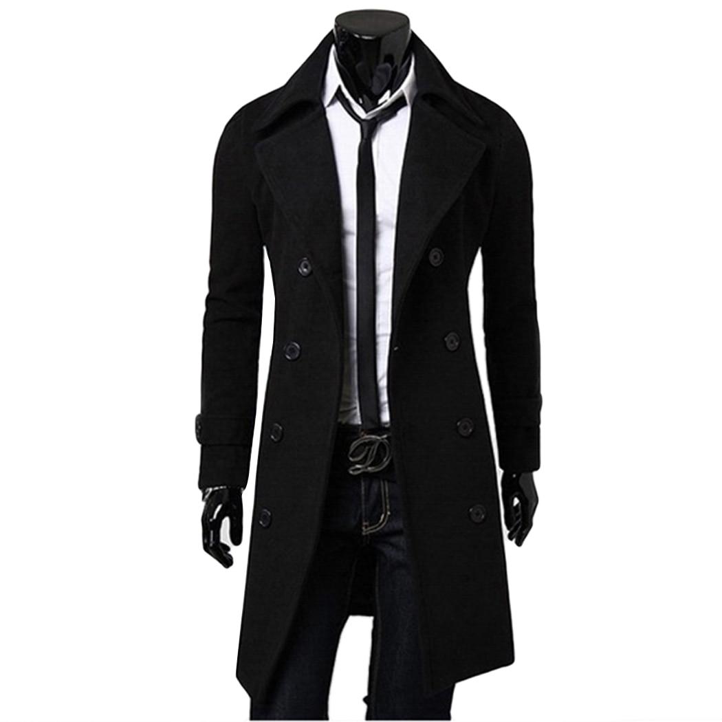 Fancy Men's Trench Coat Men Classic Double Breasted Coat Masculino ...