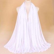 f07ff19bd9f0 Plaine Solide Couleur Jersey Hijab Écharpes avec Perles Wrap Élastique Châle  Maxi Arabe Foulard Snood Perle