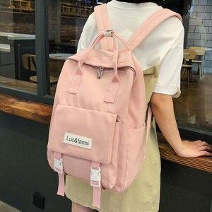 Image 1 - Mochilas impermeables Harajuku para mujer, morrales escolares a la moda para chicas adolescentes, mochila Kawaii de nailon, bolso de lujo para mujer