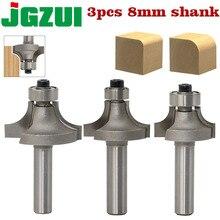 3 st 8mm Schacht Ronde Over Router Bits voor hout Houtbewerking Tool 2 fluit frees met lager frezen cutter Hoek Ronde Over Bit