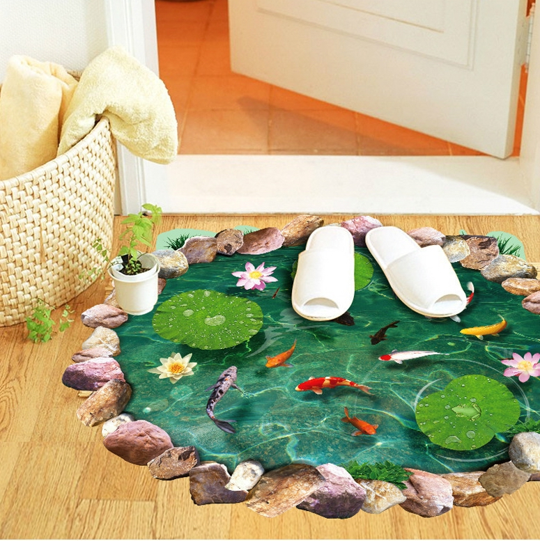 88.5*58cm 3D fish lotus floor waterproof stickers goldfish arts removable floor wallpaper home bedroom livingroom toilet decor