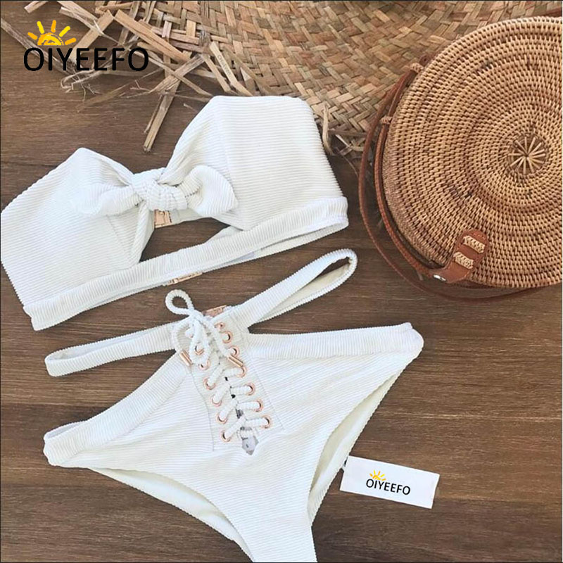 Oiyeefo White High Waist Bikni Women Sexy Bandeau Swimsuit Hollow Out Knot Bathing Suits Lace-up May Swimwear Female Plavky 2018