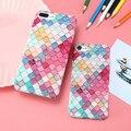 Caramelo colorido cuadrícula caso para apple iphone 7 7 plus 6 6 s más Sirena De Lujo 3D de Escamas de Pescado Elegante Moda Espalda Femenino Tapa Dura
