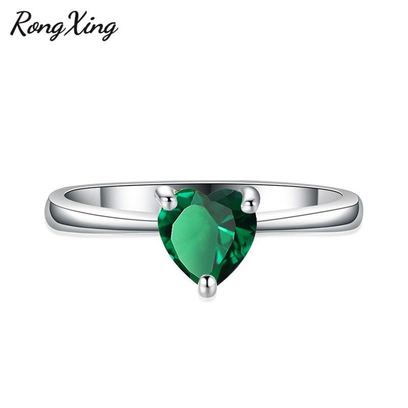 RongXing 925 пробы заполненный серебром браслет с сердцем из опала камень кольца для женщин Винтажная Мода фиолетовый/красный/синий/кольцо с зеленым Цирконом подарок - Цвет основного камня: Green