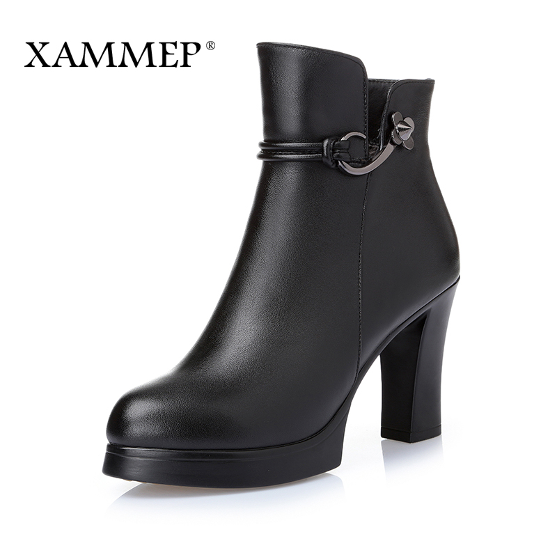 Women Winter Shoes Women Genuine Leather Natural Wool Boots Plush Ankle Boots Brand Women Shoes Platform