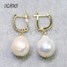 5 Pairs Natural pearls earrings hook Fashion free form gift for lady 8006