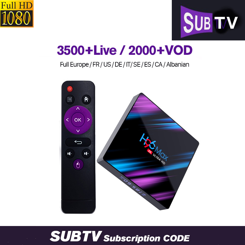 Arabic IPTV Box H96 MAX 3500 SUBTV IPTV Subscription French UK Spain italia India Brazil Channels