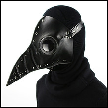 Top Black PU Leather Steampunk Steam Punk Gothic Bird Beak Mask Goggles Plague Doctor Cosplay Hood Hallowee Role Play Costume