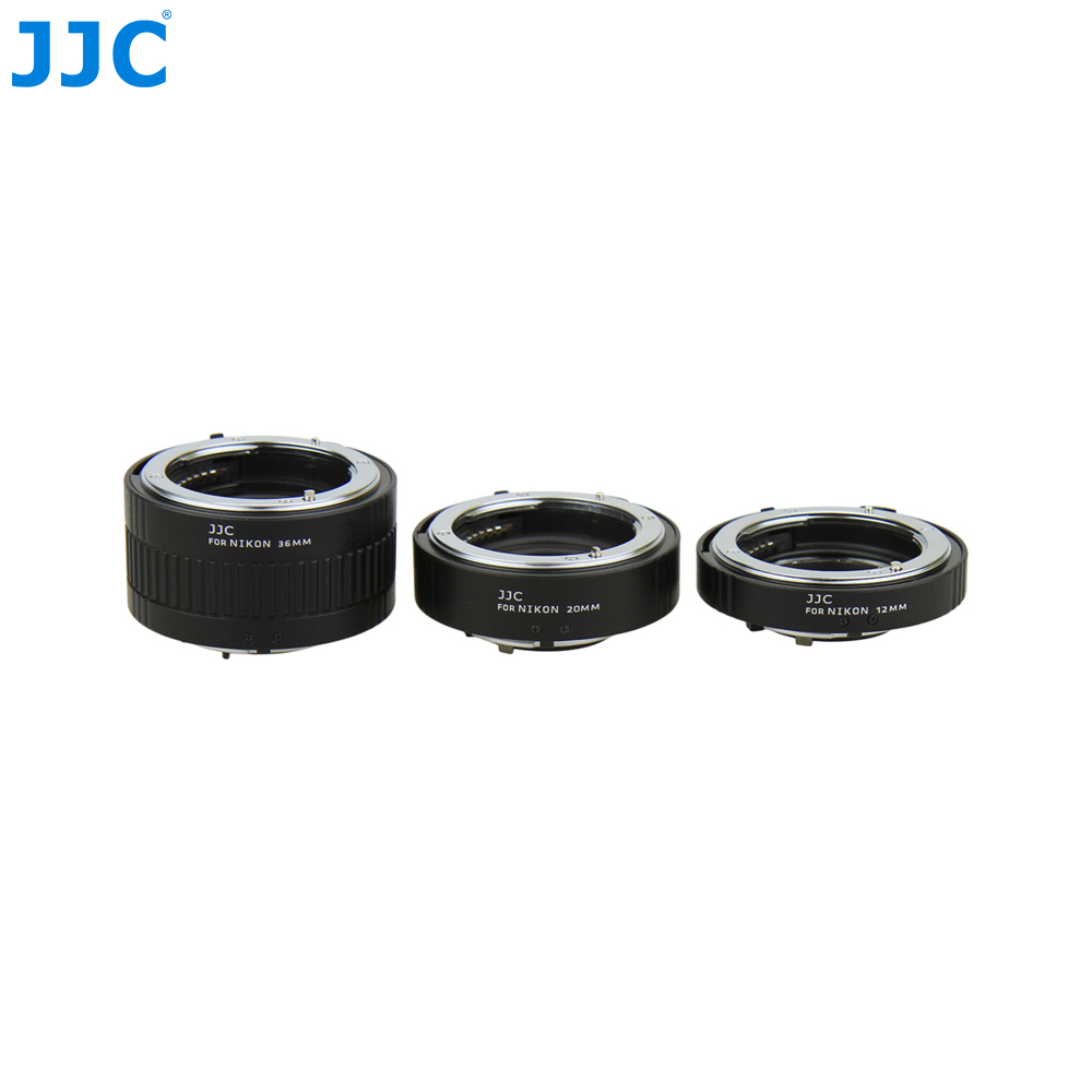 JJC Automatic Extension Tube 12mm 20mm 36mm Macro Ring Metal Auto Focus Lens Adapter for Nikon F-mount Camera SLR NIKKOR macro extension tube for sony e mount ac ms silver grey