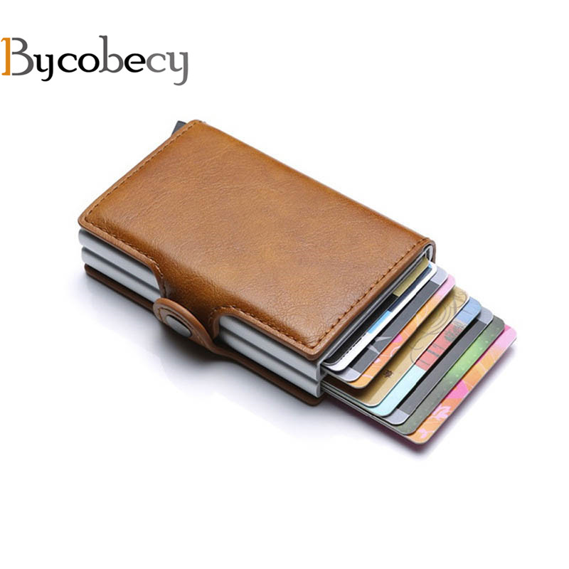 Bagaj ve Çantalar'ten Kart ve KİMLİK Tutucular'de Bycobecy 2020 kartlıklı cüzdan RFID engelleme çift Metal kutu kredi kartı alüminyum deri kartvizit kutusu cüzdan title=