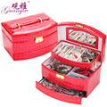 New year gift 5 color Exclusive sales fashion style 3 layers  leather jewelry box with mirror Fashion design Christmas day gift