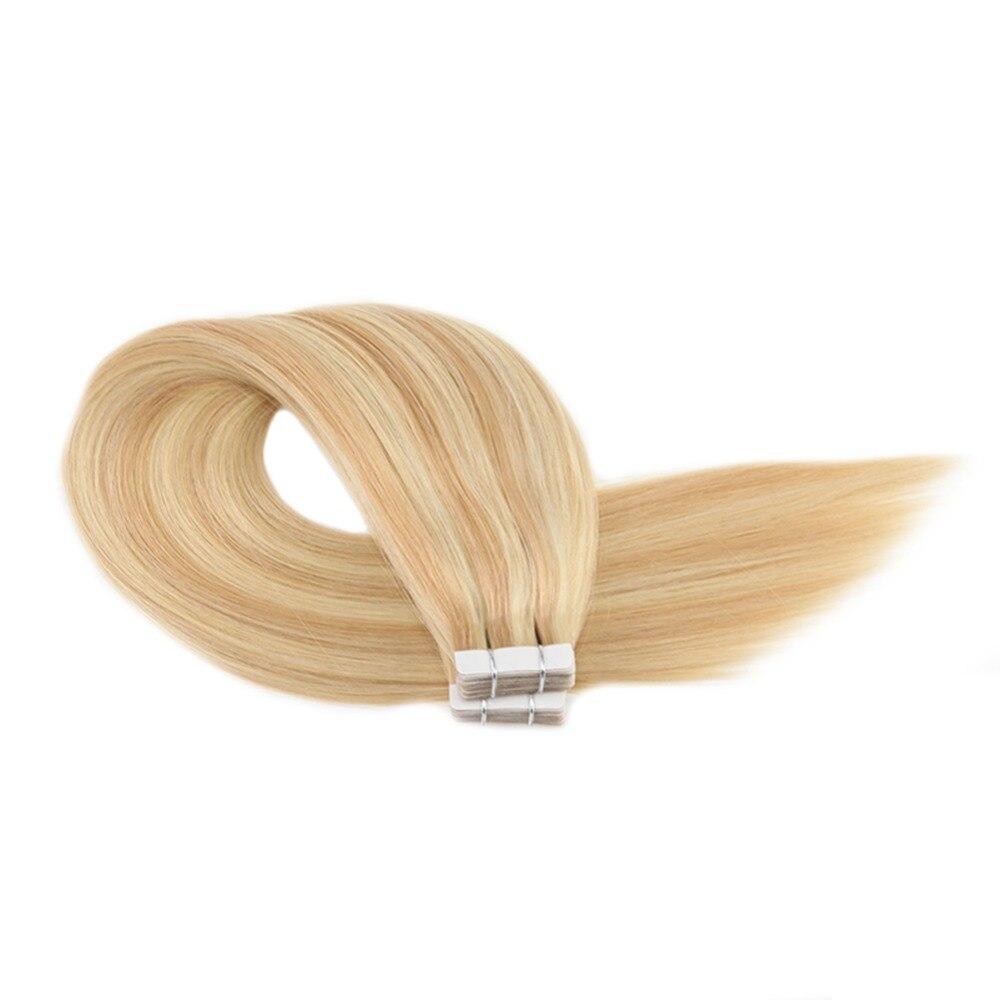 Moresoo человеческие волосы для наращивания лента в волосах подчеркивает цвет бразильские натуральные волосы с неповрежденной кутикулой для наращивания #16 изюминка с блондином - 5