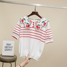 2019 Summer embroidered Cherry T shirts  Fashion womens sweet Tees Chic peter pant collar knitting Tops Tee A320