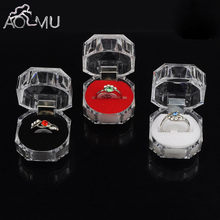 AOMU 1PC Elegant 3.8*3.8cm Portable Acrylic Transparent Rings Earring Display Box Wedding Jewelry Package Box Wholesale(China)