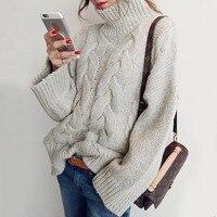 Women Long Knitwear Autumn Light Gray Loose Wrapped Solid Long Sleeve Turtleneck Sweater Female 2018 Fashion
