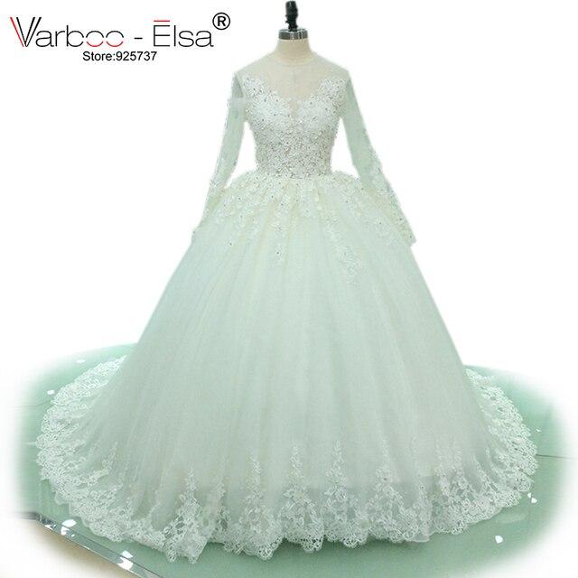 VARBOO_ELSA 2018 Muslim White Lace Bridal Dress Elegant Beading ...