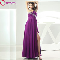 Фиолетовый шифон Длинные платья невесты 2018 Милая Pleat Свадебная вечеринка платье