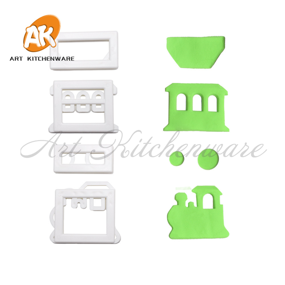 4pcs Train Design Plastic Fondant Cutter Cookie Cutters Mould Fondant Tools Pastry Cutter Birthday Cake Mold Baking Tools No.211