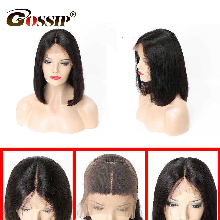 Pelucas de cabello humano corto 13x6, peluca con malla Frontal Bob, pelucas de cabello humano con encaje Frontal para mujer, pelucas con encaje Frontal Remy con extremos gruesos pre-arrancados