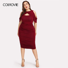 COLROVIE Plus Size Black Draped Cold Shoulder Ruched Wrap Party Dress Women  2019 Spring Burgundy Bodycon 730a8af70a93